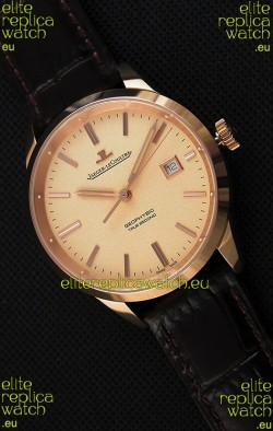 Jaeger LeCoultre Geophysic True Second Pink Gold Swiss Replica Watch Gold Dial