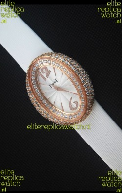 Piaget Limelight Magic Hour Swiss Quartz Watch Rose Gold in White Strap