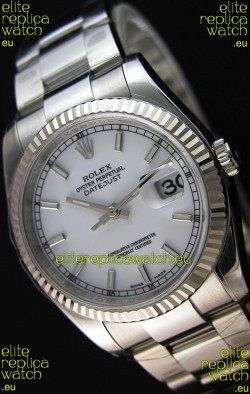 Rolex Datejust 36MM Cal.3135 Movement Swiss Replica White Dial Oyster Strap - Ultimate 904L Steel Watch