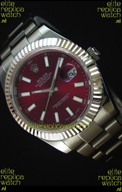Rolex Datejust II 41MM with Cal.3136 Movement Swiss Replica Watch in Deep Red Dial Stick Markers