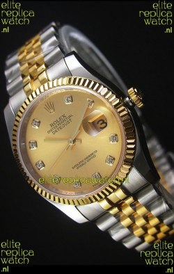 Rolex Datejust Replica Watch Gold with Diamonds Dial in 36MM with 3135 Swiss Movement