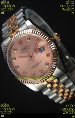 Rolex Datejust Replica Watch Rose Gold with Diamonds Dial in 36MM with 3135 Swiss Movement