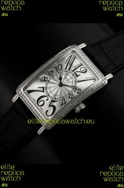 Franck Muller Long Island Japanese Replica Watch in Silver White Dial