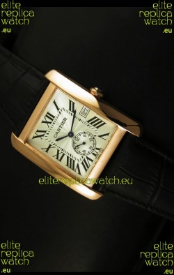 Cartier Tank Anglaise Japanese Replica Watch 34MM - White Dial Pink Gold