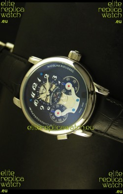 Mont Blanc Nicolas Riessec Stainless Steel Case in Black Dial