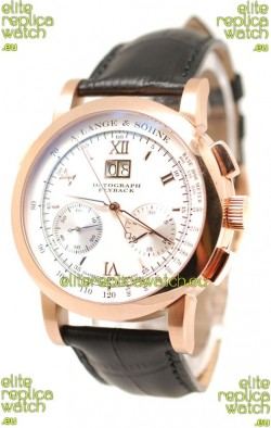 A. Lange & Sohne Datograph Flyback Swiss Replica Rose Gold Watch in White Dial