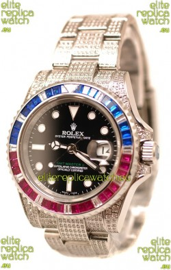 Rolex GMT Masters II 2011 Edition Swiss Replica Watch with Diamonds Casing and Bezel