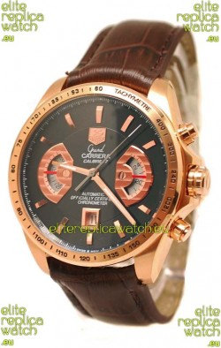Tag Heuer Grand Carrera Japanese Replica Gold Watch in Black Dial