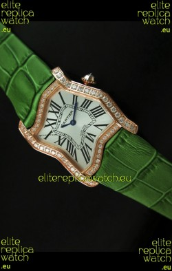 Cartier Tank Folle Ladies Replica Watch in Yellow Gold Case/Green Strap