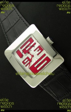 Franck Muller Geneve Infinity Japanese Steel Watch in Red Numeral Markers
