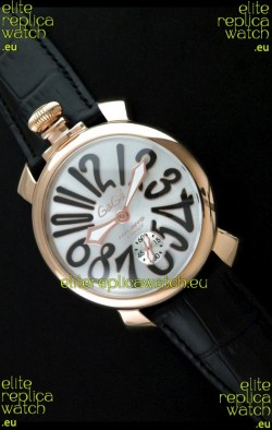 Gaga Milano Italy Japanese Replica Rose Gold Watch in Black Arabic Markers