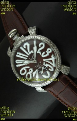 Gaga Milano Italy Manuale Replica Japanese Watch in Coffee Dial