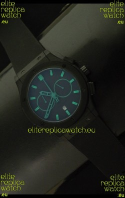 Hublot Big Bang Classic Fusion Chrono Japanese Watch with Green Markers Ceramic Case