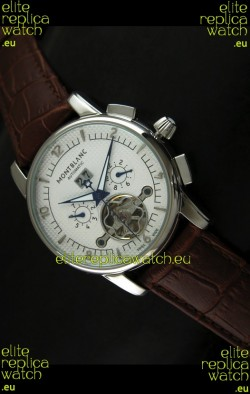 Mont Blanc Flying Tourbillon Japanese Replica Watch in White Dial
