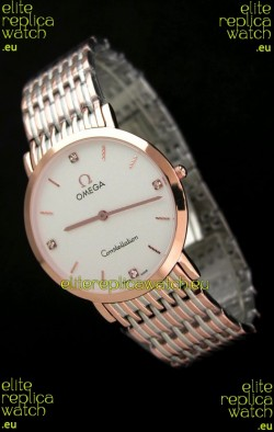 Omega Constellation Japanese Replica Rose Gold Watch