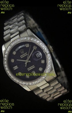 Rolex Day Date Just JapaneseReplica Watch in Printed Purple Dial