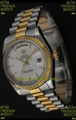 Rolex Day Date Just JapaneseReplica Two Tone Gold Watch in White Dial