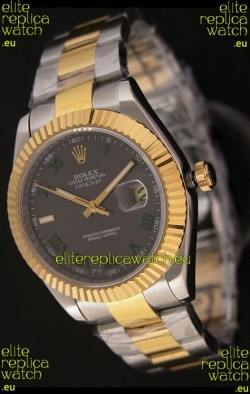 Rolex Day Date Just JapaneseReplica Two Tone Gold Watch in Grey Dial