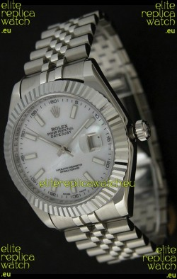 Rolex DateJust Japanese Replica Watch in Mop White Dial