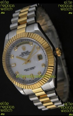 Rolex Day Date Just JapaneseReplica Two Tone Gold Watch in Mop White Dial