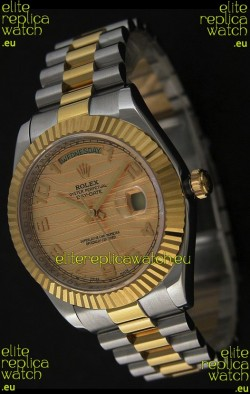 Rolex Day Date Just JapaneseReplica Two Tone Gold Watch in Golden Stripe Pattern Dial