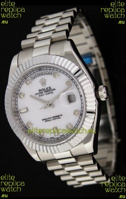 Rolex Oyster Perpetual Day Date Japanese Replica Watch in White Mother of Pearl Dial