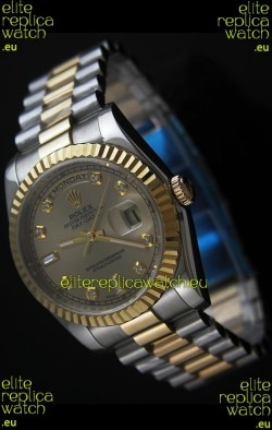 Rolex Day Date Just JapaneseReplica Two Tone Gold Watch in Golden Dial