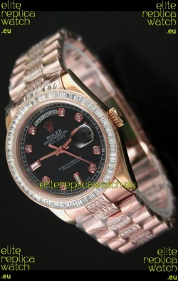 Rolex Oyster Perpetual Day Date Japanese Rose Gold Automatic Watch in Black Dial