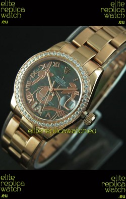Rolex Oyster Perpetual Date Just Lady Swiss Rose Gold Watch