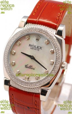 Rolex Cellini Cestello Ladies Swiss Watch in White Pearl Face Diamonds Hour, Bezel and Lugs