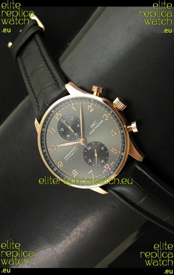 IWC Portuguese Chronograph Swiss Watch in Pink Gold Casing
