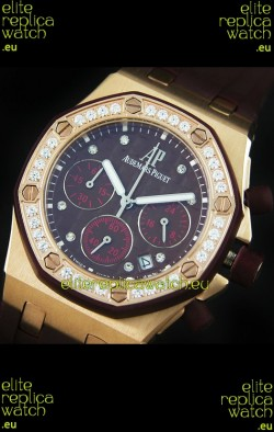 Audemars Piguet Royal Oak Offshore Lady Alinghi Swiss Watch in Maroon Checkered Dial