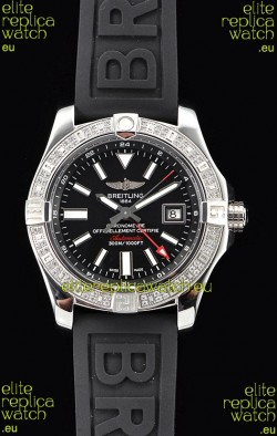 Breitling Avenger II Steel GMT Swiss Watch 1:1 Ultimate Edition - Black Dial