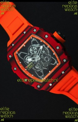 Richard Mille RM35-01 One Piece Red Forged Carbon Case Watch in Orange Strap