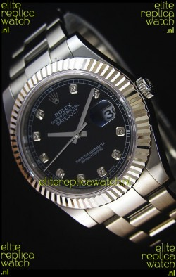 Rolex Datejust II 41MM with Cal.3136 Movement Swiss Replica Watch in Black Dial Diamonds Markers
