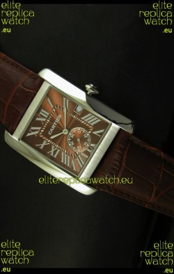 Cartier Tank Anglaise Japanese Replica Watch 34MM - Brown Dial Steel Case