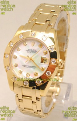 Rolex Datejust Pearlmaster Japanese Replica Gold Watch in White Pearl Dial -34MM