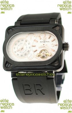 Bell and Ross BR Minuteur Tourbillon PVD Japanese Watch in White Dial