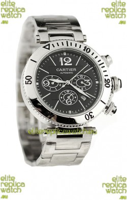 Cartier Pasha Seatimer Japanese Replica Watch in Black Dial