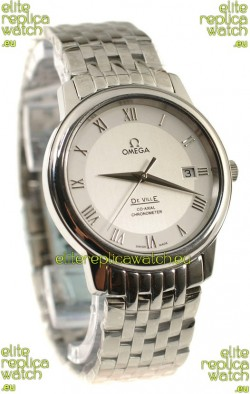 Omega Co-Axial Deville Japanese Steel Watch in White Dial