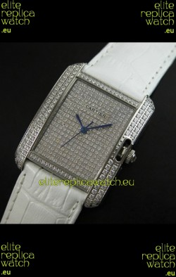 Cartier Tank Anglaise Ladies Replica Watch in Steel/White Strap