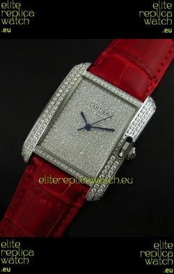 Cartier Tank Anglaise Ladies Replica Watch in Steel/Red Strap