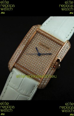 Cartier Tank Anglaise Ladies Replica Watch in Gold Case/White Strap
