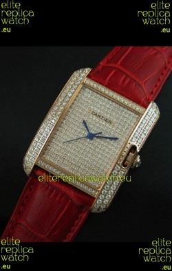 Cartier Tank Anglaise Ladies Replica Watch in Gold Case/Red Strap