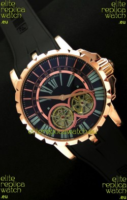 Roger Dubuis Chronoexcel Japanese Replica Automatic Rose Gold Watch in Blue Dial