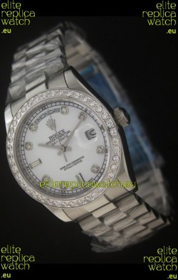 Rolex Day Date Just JapaneseReplica Watch in Pearl White Dial