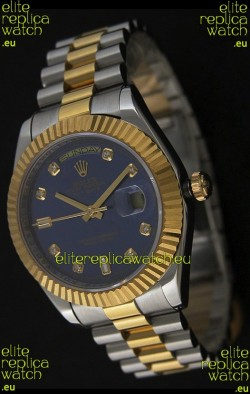 Rolex Day Date Just JapaneseReplica Two Tone Gold Watch in Light Blue Dial