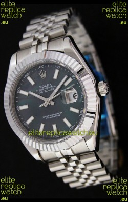Rolex DateJust Japanese Replica Watch in Black Mother of Pearl Dial