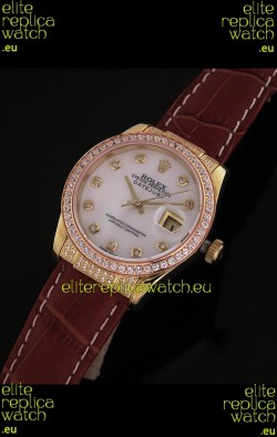 Rolex DateJust Japanese Mens Replica Yellow Gold Watch in Mop White Dial