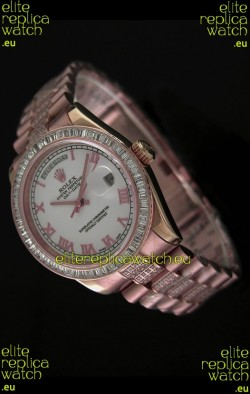 Rolex Oyster Perpetual Day Date Japanese Rose Gold Automatic Watch in Roman Markers